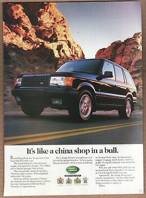 "1999 Range Rover Ad ""It's like a china shop.."" Print Ad"
