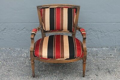 LOUIS XVI style CARVED/ UPHOLSTERED ARMCHAIR - STRIPED UPHOLSTERY - GREAT SHAPE
