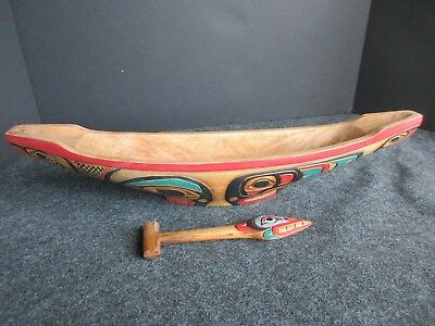CLASSIC NORTHWEST COAST DESIGN, CARVED WOODEN CANOE with PADDLE,   WY-02494
