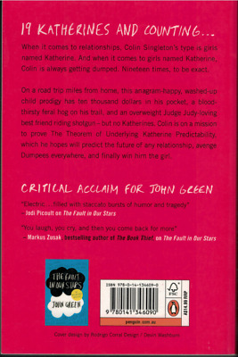 """""""An Abundance of Katherines"""" by John Green *EXCELLENT* (Paperback, 2013)"""