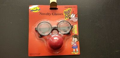 Clown Nose and Nerdy Glasses Mask Funny Disguise Prank Face Halloween Props