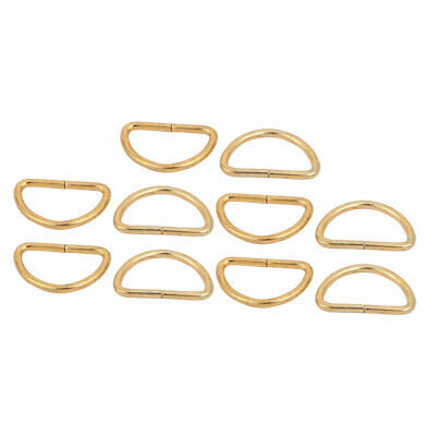 25mm Inner Width Iron Metal Half Round Non Welded D Ring Gold Tone 10pcs