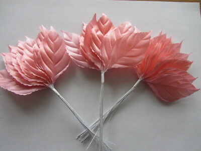 36 x LARGE PRETTY BLUSH PINK SATIN ROSE LEAVES 65mm x 40mm WIRED STEMS