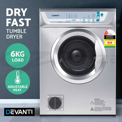 Devanti 6kg Clothes Tumble Dryer Air Vented Wall Mount Front Load Anti Crease