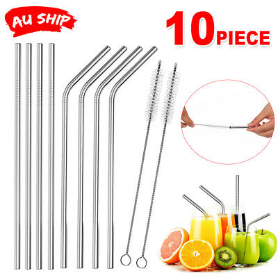 8x Stainless Steel Metal Drinking Straw Bent Reusable Washable Straws +2 Brushes