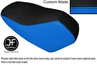 Black And Light Blue Vinyl Custom Fits Yamaha Cw 50 Rs Dual Seat Cover Only