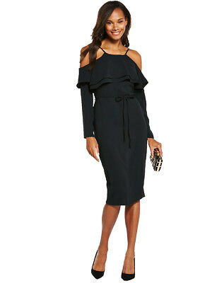 V by Very Cold Shoulder Frill Pencil Dress