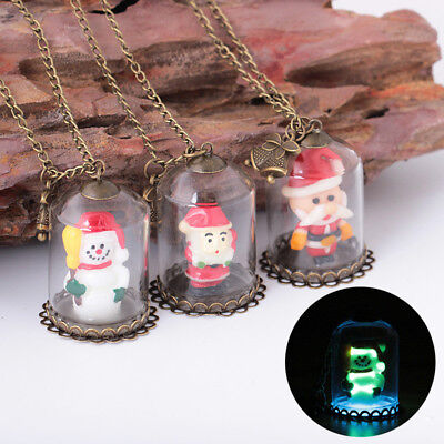 Mini Snowman Santa House Glass Bottle Necklaces Pendant Glow In The Dark Gift CB