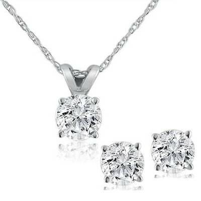1/2 ctw Diamond Solitaire Necklace & Studs Earrings Set 14K White Gold