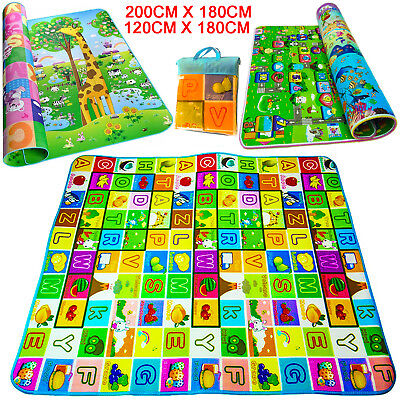 Kids Crawling Educational Play Mat Double 2 Sided Picnic Carpet Number Letters