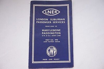 1943 LNER GWR Joint Line London Railway Timetable Marylebone Paddington