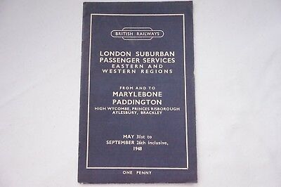 1948 Eastern & Western Region Railway Passenger Timetable Marylebone Paddington