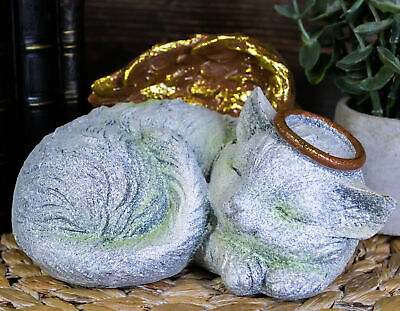 """Heavenly Halo Angel Cat Urn For Ashes Statue 7.5""""Wide Pet Memorial Figurine"""