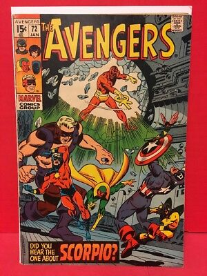 1970 The Avengers #72 Comic 1st Zodiac - Captain Marvel Nick Fury Appearance