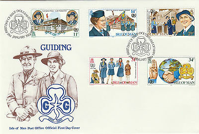 ISLE OF MAN OFFICIAL FDC x 2 -75 YEARS OF SCOUTING & 75TH ANNIVERSARY OF GUIDING
