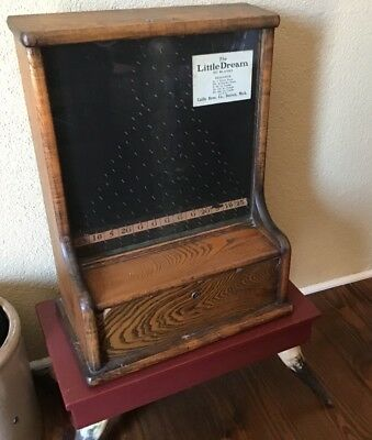 VINAntique Little DREAM PENNY DROP TRADE STIMULATOR Caille Oak 1910 Slot Machine