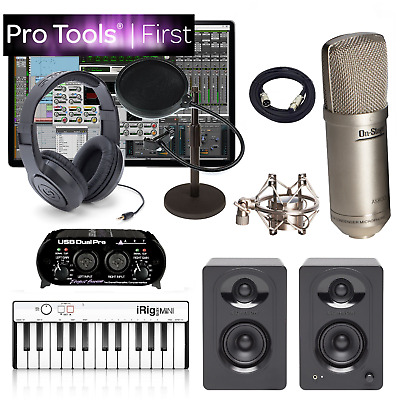 Pro Tools First Recording Studio Bundle iRig Keys Mini Midi ART USB Interface