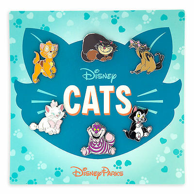New HKDL Disney Cats Booster 6 Pin Set Marie Cheshire Figaro Lady Oliver Pins