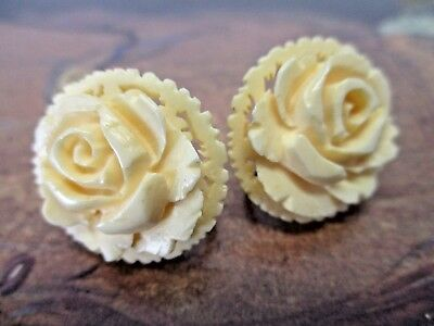 Vintage Japan Carved Bovine Rose Flower Clip-On Screw Back Earrings