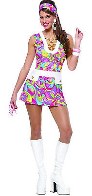 d9bdac1e6a4 WOMENS 60S 70S Retro Groovy Disco Dolly Halloween Costume Size Adult ...