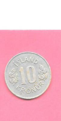 iceland km15 1967 vf-very fine-nice large old vintage 10 KRONUR CIRCULATED COIN