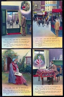 Pre-1914 Bamforth Vintage Song Cards: Set of 4: Its a Long Way to Tipperary