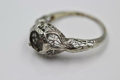 Art Deco Vintage 18K White Gold Filigree Engagement Mount For 1Ct Diamond