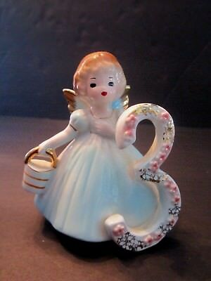 vintage Josef Originals 3rd third birthday angel figurine w label. Porcelain