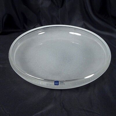 """Arabia Finland Finn Crystal Frosted Large Low Round Bowl 11.5"""" Vintage Glass"""