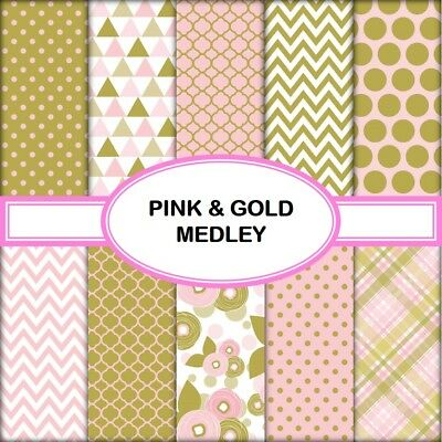 PINK & GOLD MEDLEY SCRAPBOOK PAPER - 10 x A4 pages