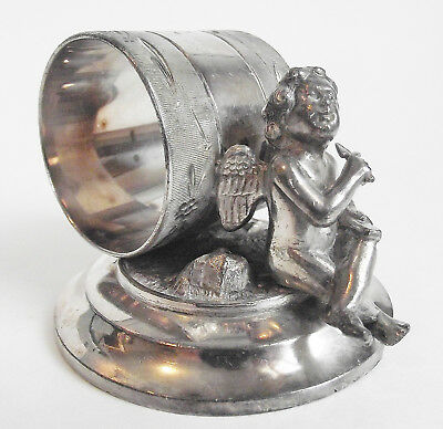 Antique MERIDEN 219 Figural CHERUB CUPID ANGEL Silverplate NAPKIN RING HOLDER