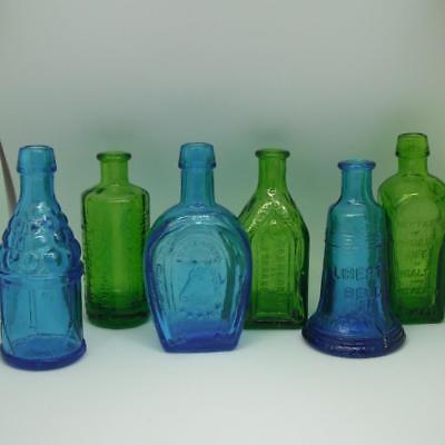 Wheaton Extract Bottles Miniature Carnival Glass Blue Green Lot of 6 Vintage