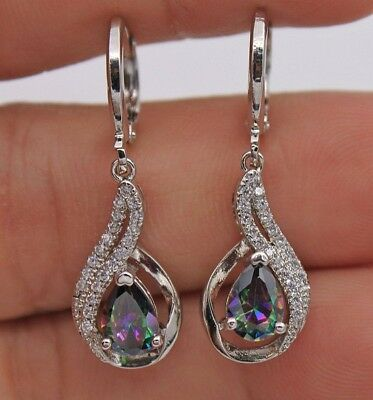 18K White Gold Mystic Topaz Hollow Waterdrop Lady Dangle Cocktail Earrings Gifts
