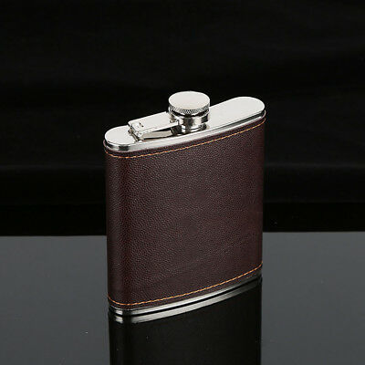 Faux Leather Wrapped Stainless Steel Vodka Whiskey Alcohol Hip Flask 5-9oz Sanwo