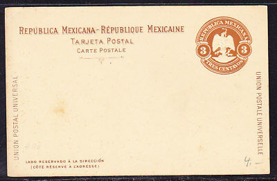 Mexico 1900 Embossed 3c Brown Lettercard Unused