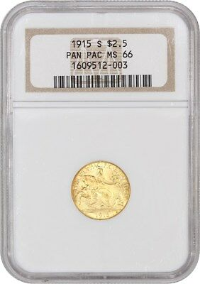 1915-S Panama-Pacific $2 1/2 NGC MS66 (OH) - Classic Commemorative - Gold Coin