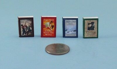 1/12 Scale Dollhouse Miniature Set of 4 Classic Books with Pages Inside #HCX149