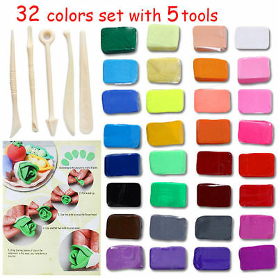 32x Multicolors Set Oven Bake Fimo Polymer Soft Clay Modelling Moulding DIY Toys