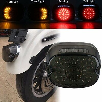 Smoked Low Short Laydown LED Integrated Taillight Turn Signals Harley Dyna