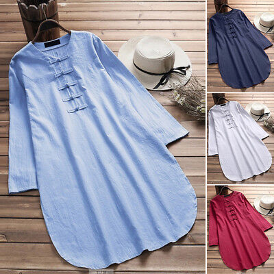 AU 8-24 Women Casual Plus Size Mini Short Sundress Tunic Top Blouse Shirt Dress