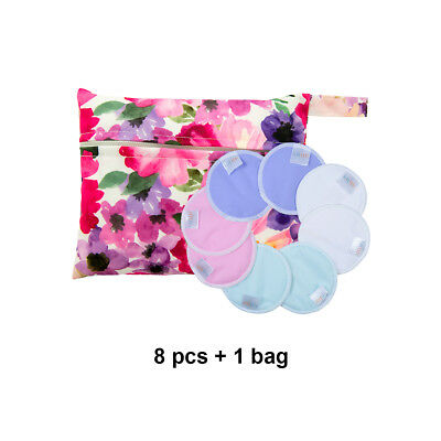 8 ALVA Reusable Washable Breast Nursing Pads Absorbent Breastfeeding +1Tiny bag