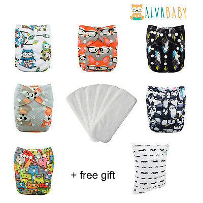 6 ALVA Baby Cloth Diapers + 6 Inserts One Size Reusable Washable Pocket Nappies