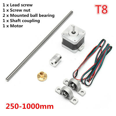 3D Printer T8 Trapezoidal Lead Screw Rod +Nut+Motor Coupling Shaft Bearing Mount