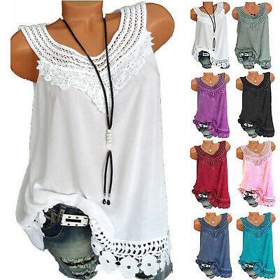 Plus Size Women Sleeveless T-Shirt Casual Loose Cotton Tank Top Cami Vest Blouse