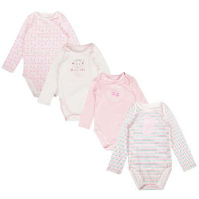 Baby Girls 3 Pack Body Suits Ex Store Long Sleeve Cotton Vests 0-36M New