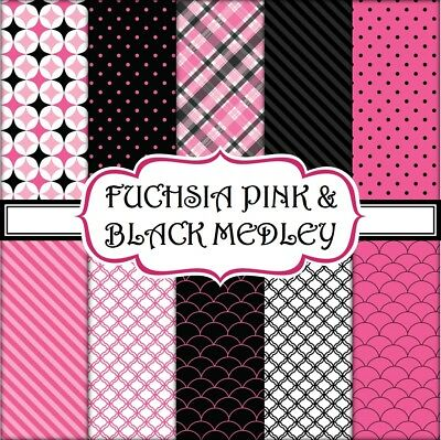 FUCHSIA PINK & BLACK MEDLEY SCRAPBOOK PAPER - 10 x A4 pages