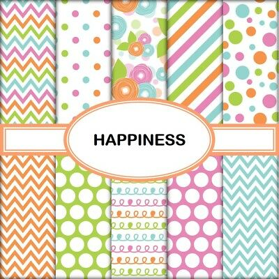 HAPPINESS SCRAPBOOK PAPER - 10 x A4 pages
