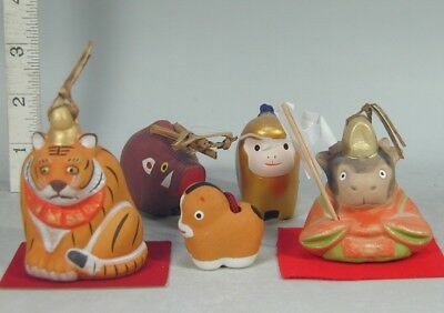 DOREI BELL Lot #919 Clay Pottery Zodiac Tiger Monkey Cow Horse Boar Animal Japan