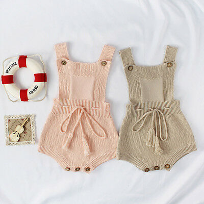 Newborn Baby Girl Boy Tassel Knitted Toddler Overall Jumpsuit Clothes Outfit UK