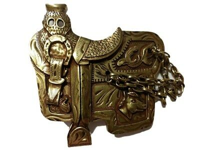✖ WESTERN Steer Saddle Cowboy Rodeo Style ✖ Belt Buckle Buck ✖ Gold / bronze USA